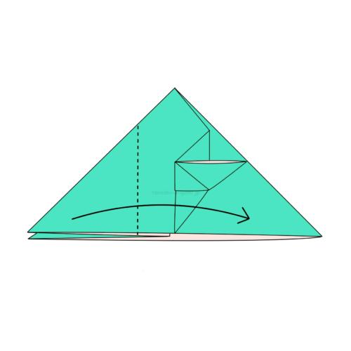 11.左側の1つの折り線に合わせて右側に向けて折る-2