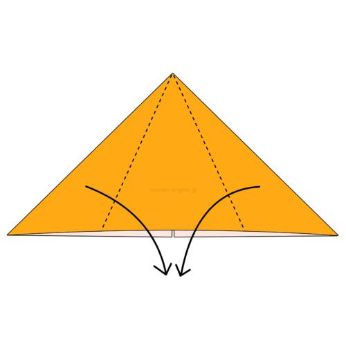 11.折り紙を裏返して両側を真ん中に合わせて下に向けて折る-2