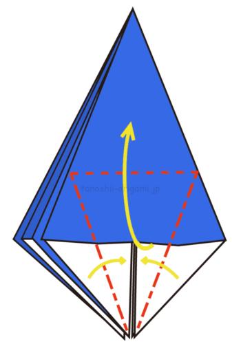 11.折り線に合わせて開くように折る