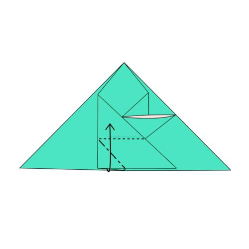 12.角の部分に斜めに折り線をつけて上に開いてつぶすように折る-2