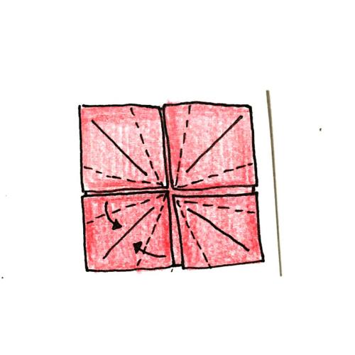 12.1ヶ所ずつ両端を真ん中に合わせて折り線をつけていく