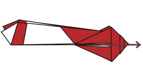 13.折り線に合わせて開いてつぶすように折る。