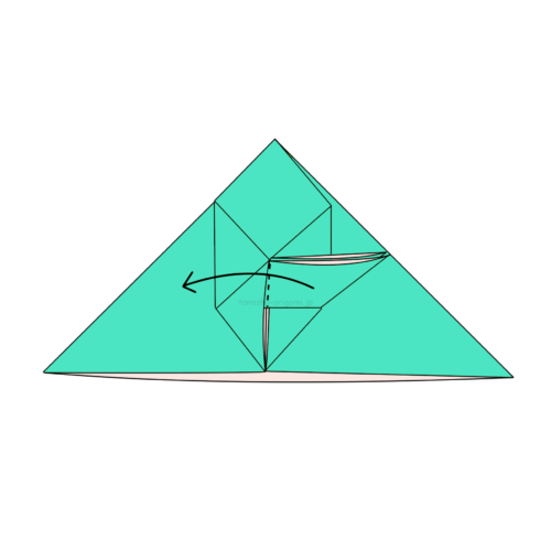 13.折り線に合わせて開いてつぶすように折る-2