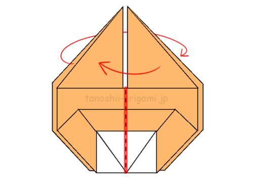 14.真ん中の赤線のところで折り、表に出ていない面を出す