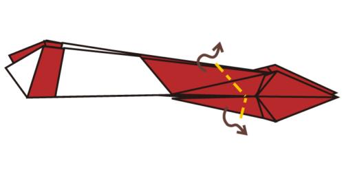 15.下の方が頭になるのでくちばしのように折る。反対側は尻尾になるように折る。