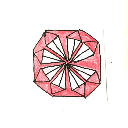 15.折り紙のはなもようの完成