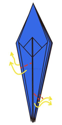 15.片方は半分くらいのところで折り、もう片方は先端だけ折る