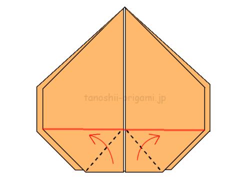 15.角を赤線に合わせて広げてつぶすように折る