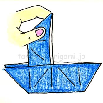 17.折り紙のだまし船の完成