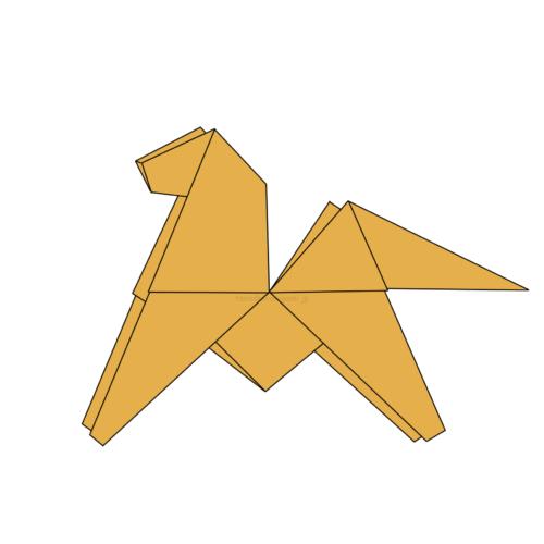 17.折り紙のちゅうがえりうまの完成