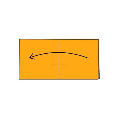 2.折り紙をもう一度半分に折る-2