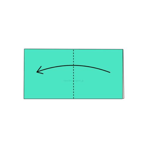 2.折り紙をもう一度半分に折る-5