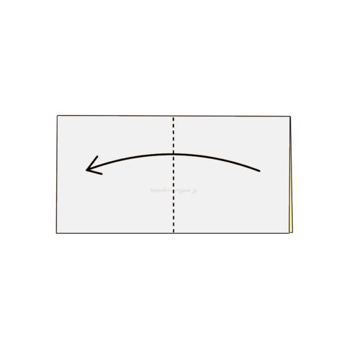 2.折り紙をもう一度半分に折る