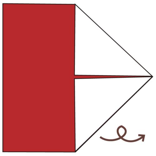 2.折り紙を裏返す。