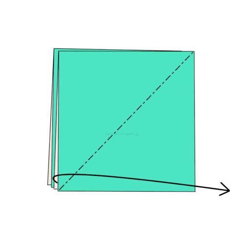 3-1.斜めに折り線をつけ、開いてつぶすように折る-4