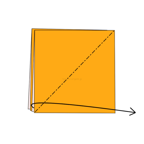 3-1.斜めに折り線をつけ、開いてつぶすように折る-2
