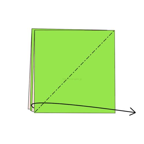 3-1.斜めに折り線をつけ、開いてつぶすように折る-3
