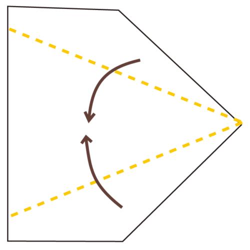 3.上下の端を真ん中に合わせて折る。