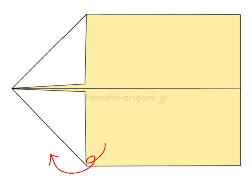 4.折り紙を裏返す。
