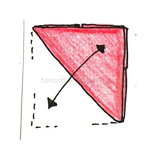 4.斜めに折り線をつける