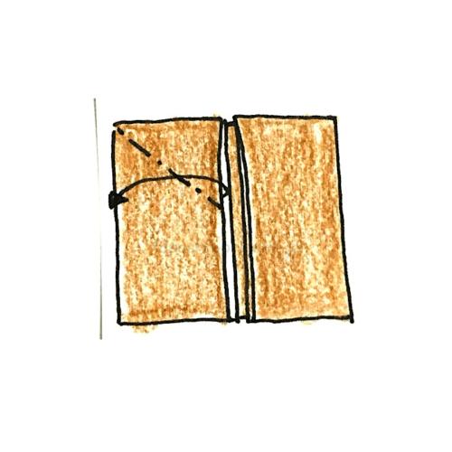4.片方を開いてつぶすように折る-2