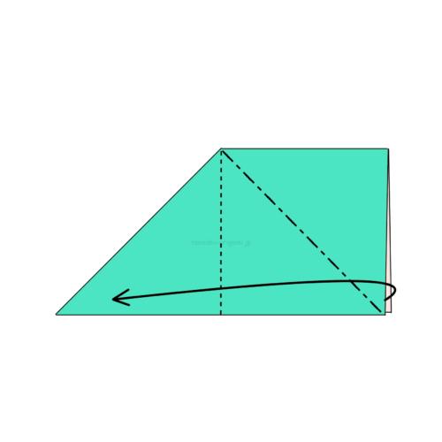 5.反対側も斜めに折り線をつけて、開いてつぶすように折る-4