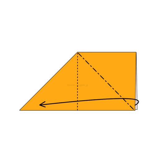 5.反対側も斜めに折り線をつけて、開いてつぶすように折る-2
