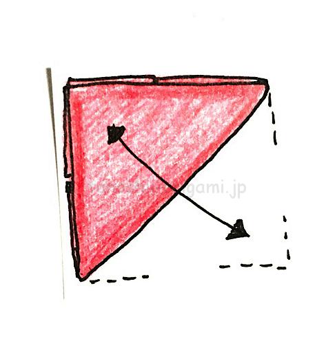 5.反対側も斜めに折り線をつける
