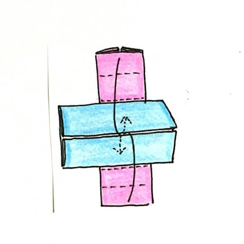 5.折り目のついていない面を合わせて中に折り込む
