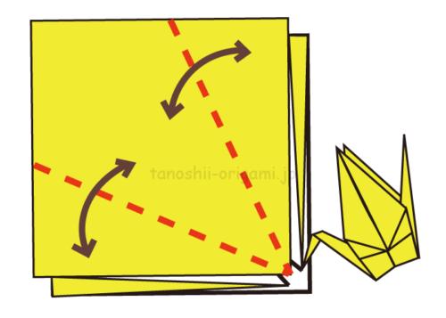 5.斜めに折り線をつけるときれいに折れる