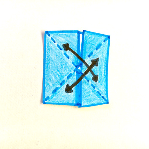 6.もう一度斜めに折り線をつける-3