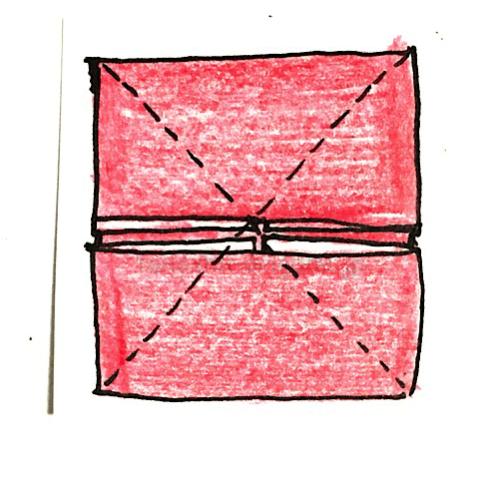 6.斜めに折り線をつけたところ