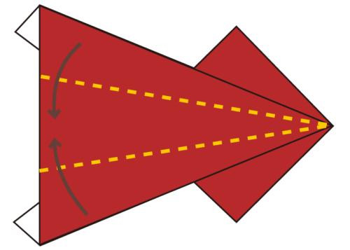 6.羽の部分を真ん中に合わせて折る。