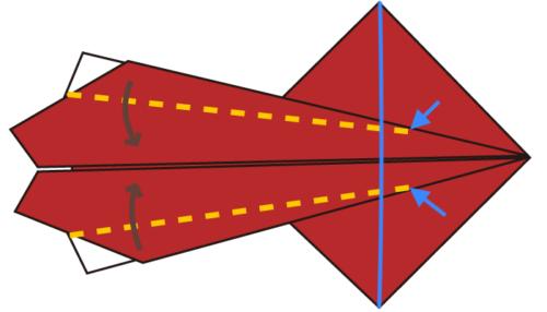 7-2.折り線が青い線を越えるように折る。