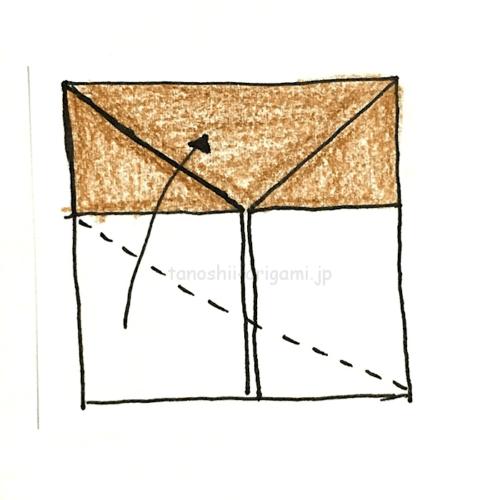 7.下半分のうちの上の1枚を対角の線に合わせて折る