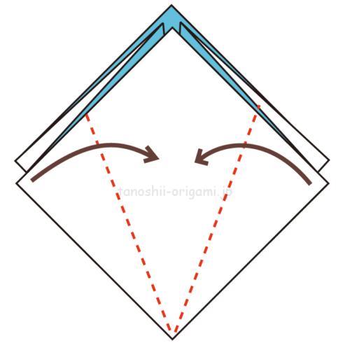 7.両側から真ん中に合わせて折る