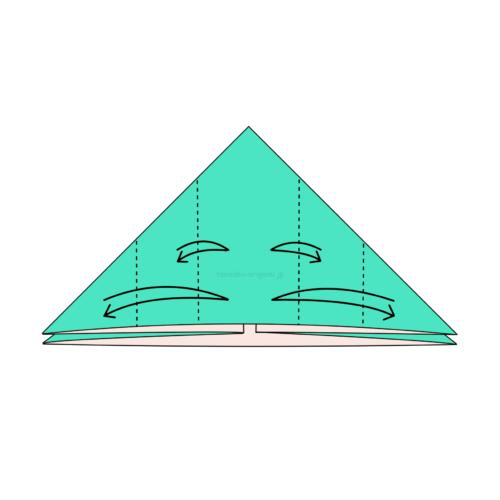 7.左右に2カ所ずつ折り線をつける-2