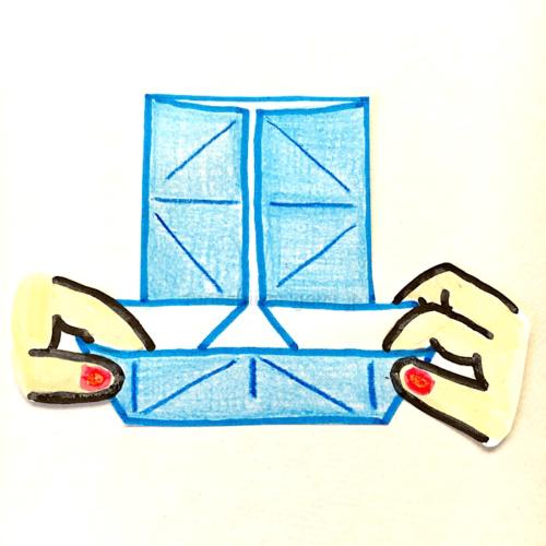 7.折り線に合わせて広げてつぶすように折る