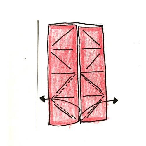 7.折り線に合わせて開いてつぶすように折る