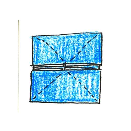 7.斜めに折り線を2回つけたところ