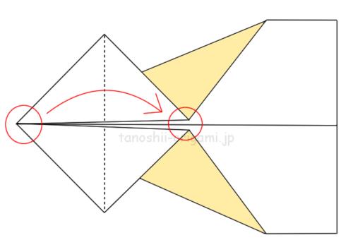 7.赤い丸が重なるように四角の対角線で半分に折る。