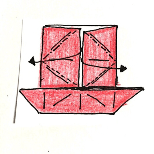 8.反対側も同じように開いてつぶすように折る-3