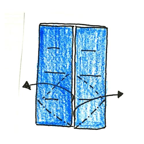 8.折り線に合わせて広げてつぶすように折る