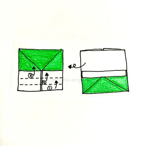 8.裏返して反対側も3回折りたたむ