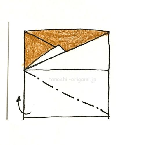 9.下の1枚も裏側へ向けて斜めに折る