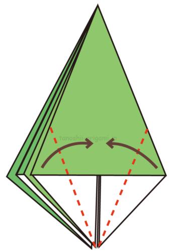 9.両端を真ん中に合わせて折る
