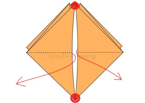9.左右に開いて赤丸のところを広げる