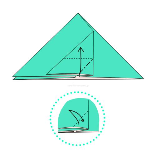 9.角の部分に斜めに折り線をつけて上に開いてつぶすように折る-2