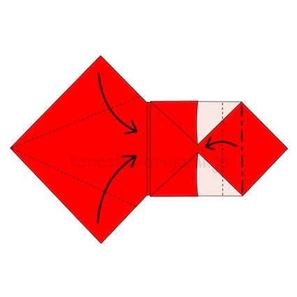 12.右の角を裏側に折ってから手前に折り返す。左側は上下の角を半分に合わせて折る
