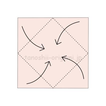 2,真ん中に合わせて角を折る